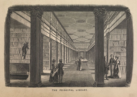 View of the Long Room (Trinity College) From History of the University of Dublin by WBS Taylor (1819)
